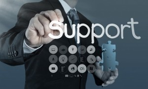 businessman hand writing support concept